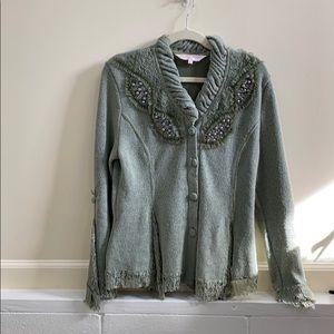 Pretty Angel L green linen cotton blend sweater
